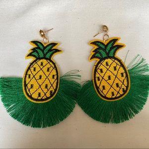 Pineapple Fringe Earrings Gold Tone Post Back New